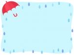 赤い傘と雨粒の囲みフレーム飾り枠イラスト