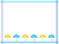 青と黄色の傘のマスキングテープ風フレーム飾り枠イラスト