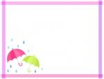 ピンク色と黄緑色の傘のマスキングテープ風フレーム飾り枠イラスト