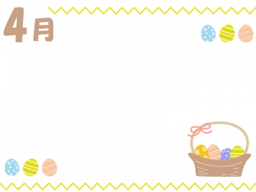 4月・かご盛りイースターエッグの上下フレーム飾り枠イラスト