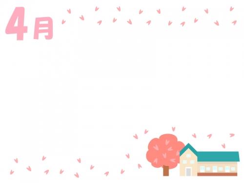 4月・園舎と桜のフレーム飾り枠イラスト