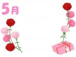 5月・母の日のカーネーションの左右フレーム飾り枠イラスト