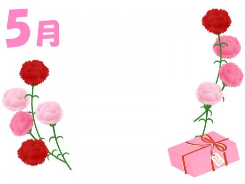 5月母の日のカーネーションの左右フレーム飾り枠イラスト 無料
