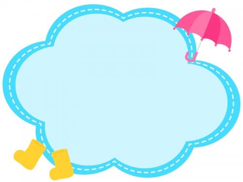 ピンク色の傘と長靴の水色点線もこもこフレーム飾り枠イラスト
