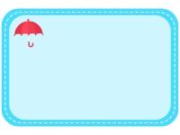 赤い傘の水色点線フレーム飾り枠イラスト