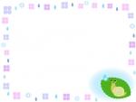 かたつむりと紫陽花と雨粒のフレーム飾り枠イラスト