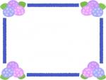 四隅の紫陽花のフレーム飾り枠イラスト