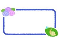 かたつむりと紫陽花の横長フレーム飾り枠イラスト