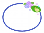 かたつむりと紫陽花の楕円フレーム飾り枠イラスト