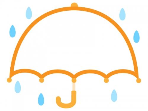 広げた傘のオレンジ色フレーム飾り枠イラスト