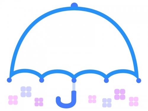 広げた傘の青色フレーム飾り枠イラスト