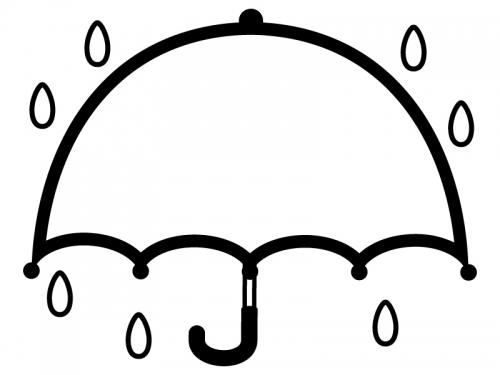 広げた傘の白黒フレーム飾り枠イラスト