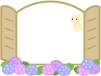 てるてる坊主と紫陽花の窓風フレーム飾り枠イラスト