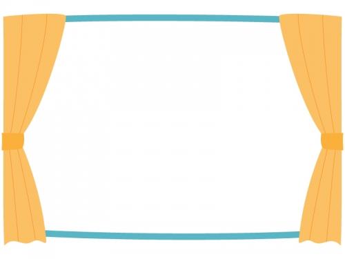 オレンジ色のカーテンと窓のフレーム飾り枠イラスト