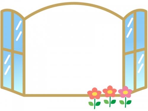 窓と花のフレーム飾り枠イラスト
