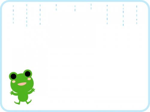 雨とカエルのフレーム飾り枠イラスト