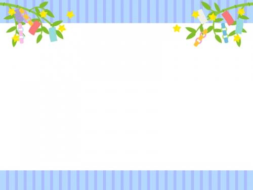 青と紫のストライプの七夕飾りフレーム飾り枠イラスト