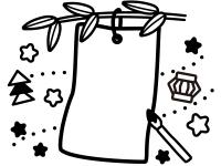 七夕の短冊風と筆の白黒フレーム飾り枠イラスト