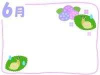 6月・紫陽花とカタツムリの梅雨フレーム飾り枠イラスト