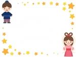 七夕・織姫と彦星と星のフレーム飾り枠イラスト