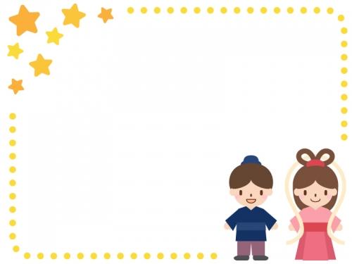 七夕・織姫と彦星の星と点線のフレーム飾り枠イラスト