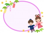 織姫と彦星と七夕飾りの楕円フレーム飾り枠イラスト