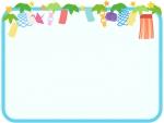 七夕飾りの角丸四角の水色フレーム飾り枠イラスト