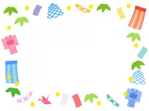 七夕飾りと星の囲みフレーム飾り枠イラスト