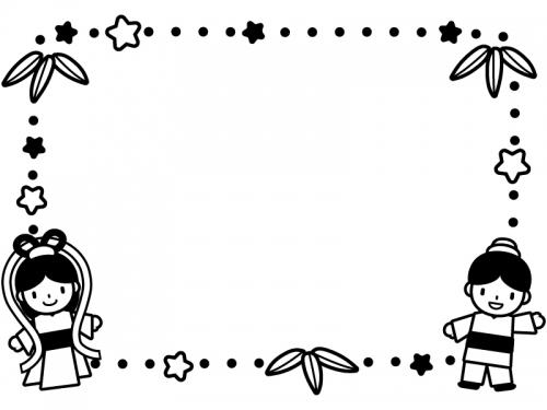 織姫と彦星と星の点線白黒フレーム飾り枠イラスト