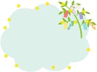 七夕飾りと笹の葉のもこもこフレーム飾り枠イラスト