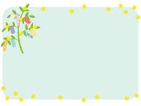 七夕飾りと笹の葉の四角フレーム飾り枠イラスト