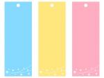 七夕の短冊(ピンク・黄・水色)フレーム飾り枠イラスト