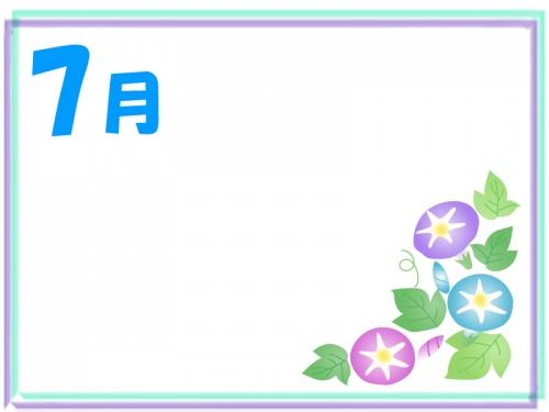 7月・朝顔のフレーム飾り枠イラスト