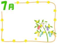 7月・七夕飾りのフレーム飾り枠イラスト
