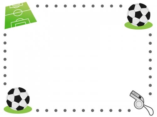 点線のサッカーのフレーム飾り枠イラスト02 無料イラスト かわいい