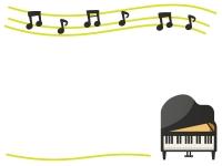 グランドピアノのフレーム飾り枠イラスト