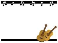ギターと音符のフレーム飾り枠イラスト