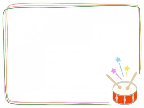 小太鼓のカラフル音楽フレーム飾り枠イラスト