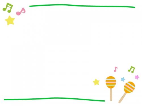 マラカスの音楽フレーム飾り枠イラスト 無料イラスト かわいいフリー