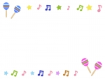 マラカスと音符の音楽フレーム飾り枠イラスト