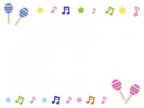 マラカスと音符の音楽フレーム飾り枠イラスト 無料イラスト かわいい