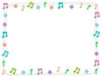 カラフルな音符のフレーム飾り枠イラスト