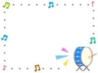 大太鼓の音楽フレーム飾り枠イラスト