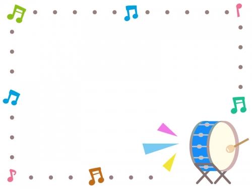 大太鼓の音楽フレーム飾り枠イラスト 無料イラスト かわいいフリー素材
