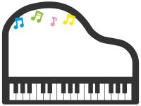 ピアノと音符のフレーム飾り枠イラスト