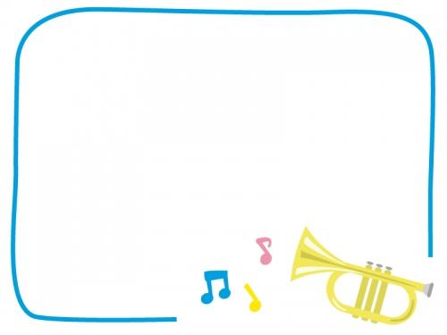 ラッパの音楽フレーム飾り枠イラスト