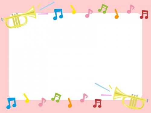 ラッパと音符の音楽フレーム飾り枠イラスト 無料イラスト かわいい