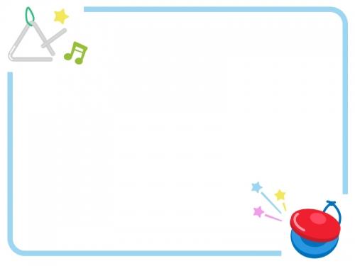 カスタネットとトライアングルの音楽フレーム飾り枠イラスト