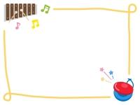 木琴とカスタネットの音楽フレーム飾り枠イラスト
