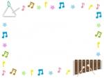 トライアングルと木琴の音符フレーム飾り枠イラスト